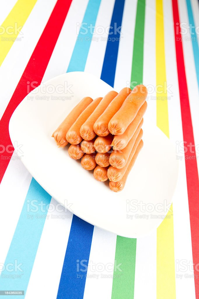 Stack of cooked hotdogs royalty-free stock photo
