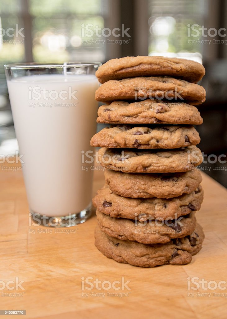 Stack of Cookies and Milk stock photo
