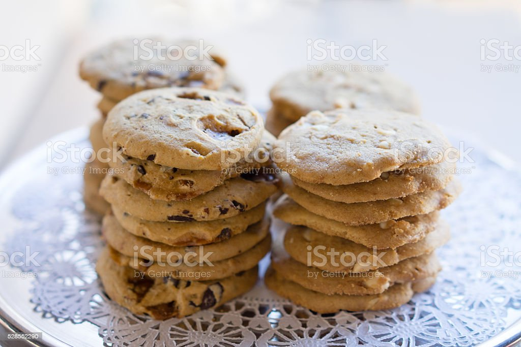 Stack of Cookies on a Fancy Tray stock photo