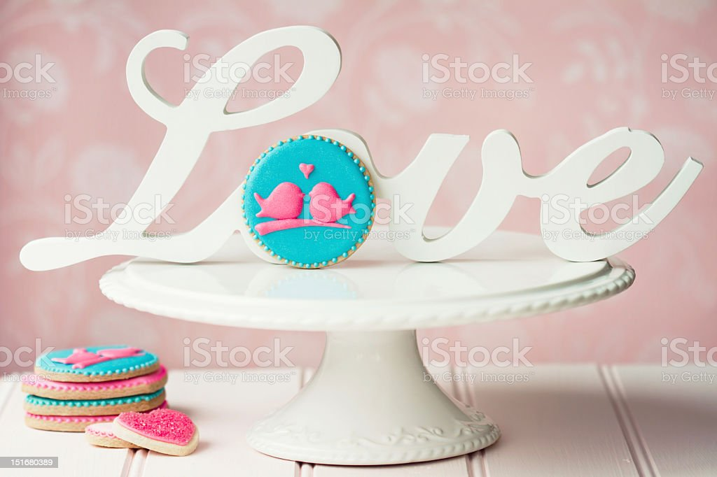Stack of cookies representing love stock photo