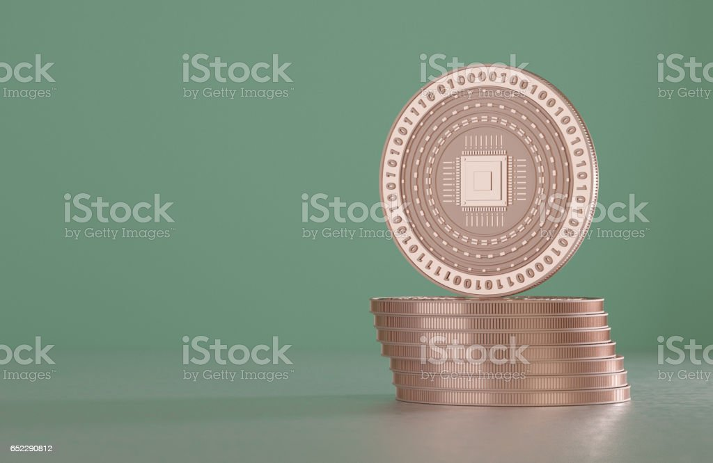 Stack of copper coins as example for crypto-currency and bitcoin stock photo