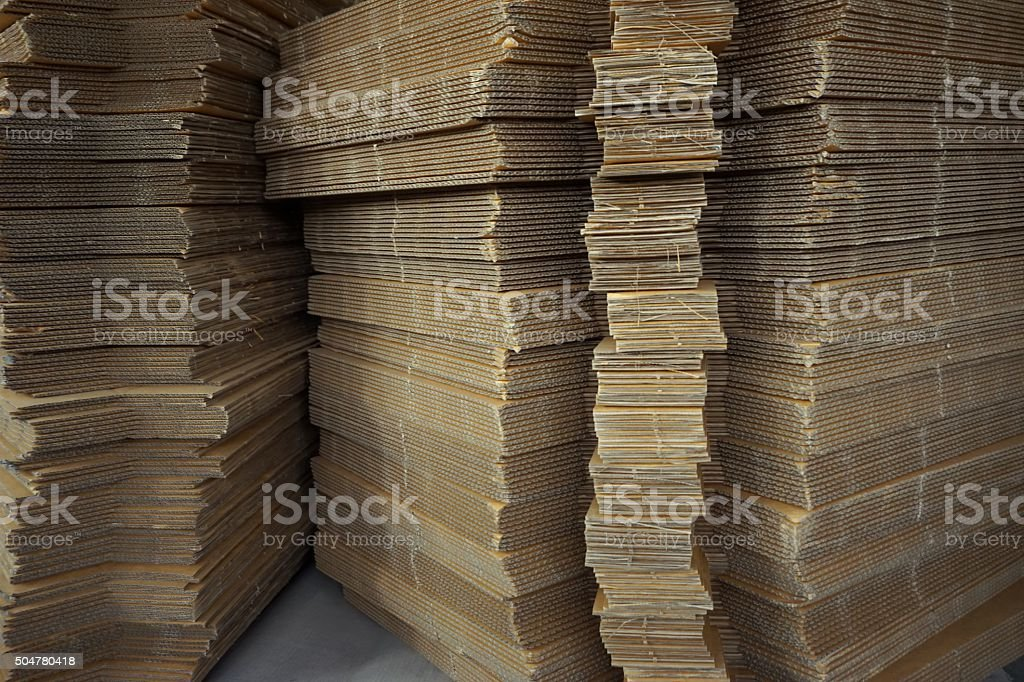 stack of corrugated paperboard stock photo