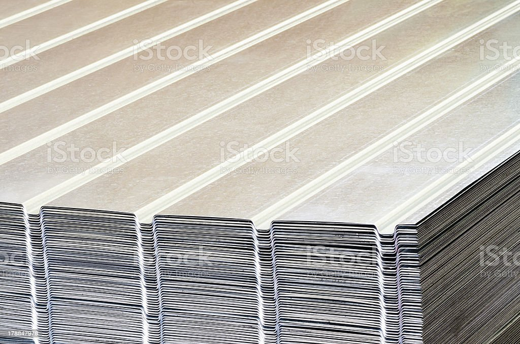 Stack of corrugated steel sheet royalty-free stock photo