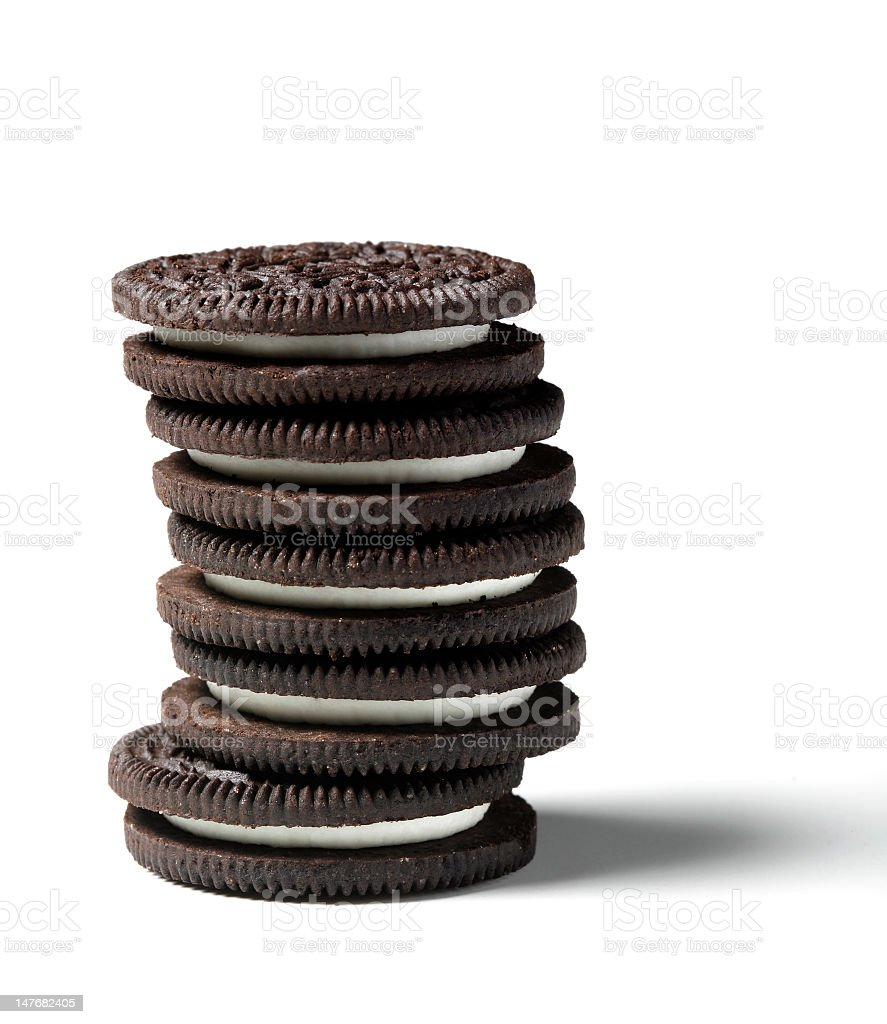 Stack of cream filled chocolate cookies royalty-free stock photo