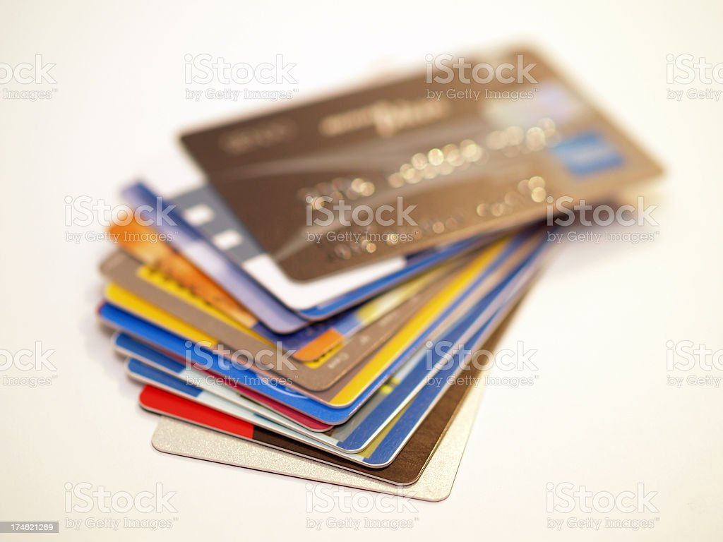 Stack of credit cards on a white background royalty-free stock photo