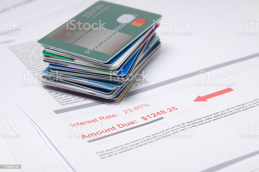 Stack of credit cards on account of value in red stock photo