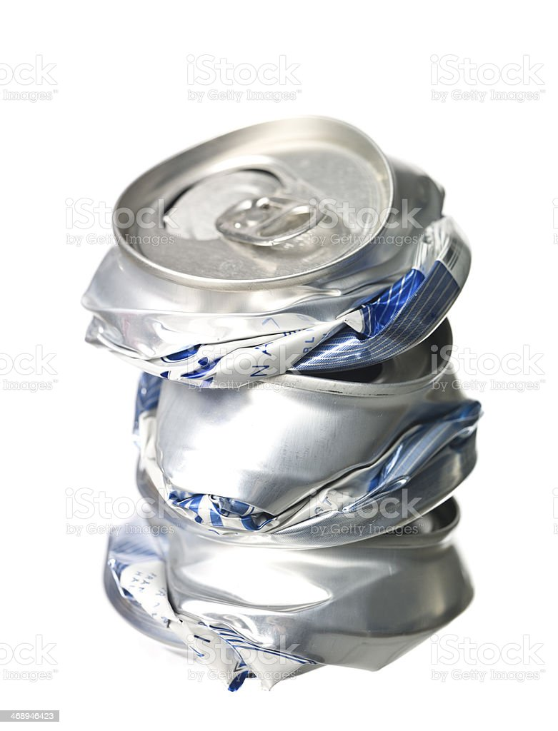 Stack of Crushed Aluminium Cans stock photo