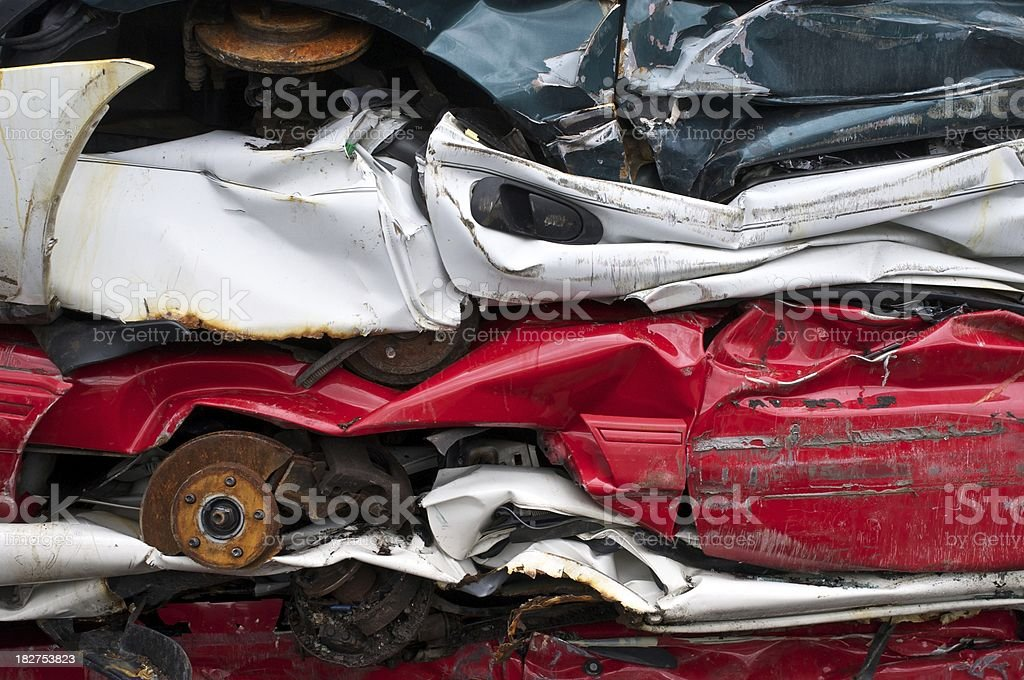 Stack of Crushed Cars royalty-free stock photo