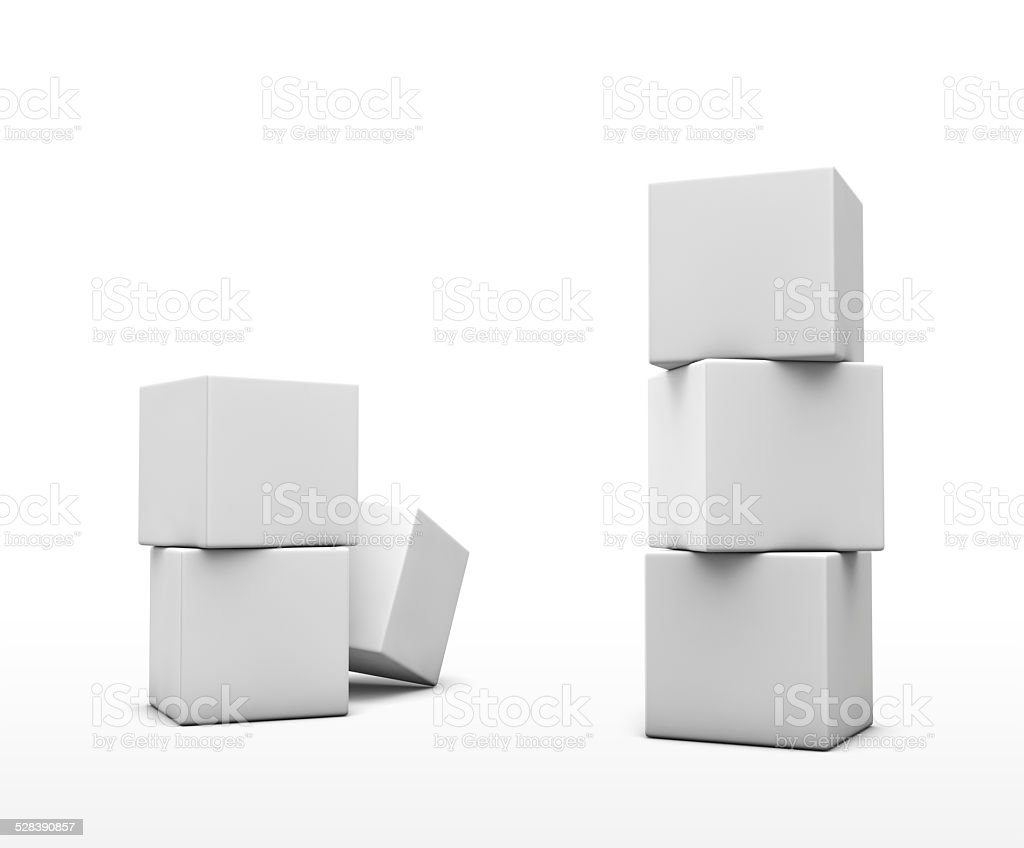 Stack of cubes on white background. stock photo
