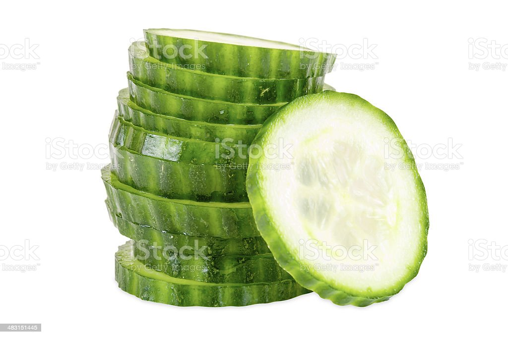 Stack of cucumber slices stock photo
