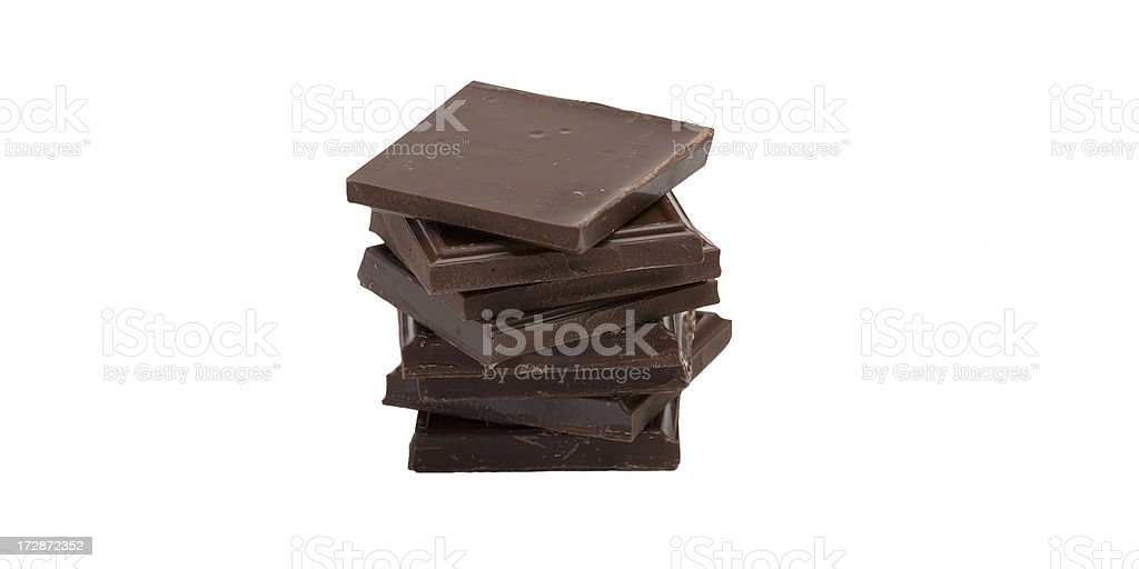 stack of dark chocolate squares royalty-free stock photo