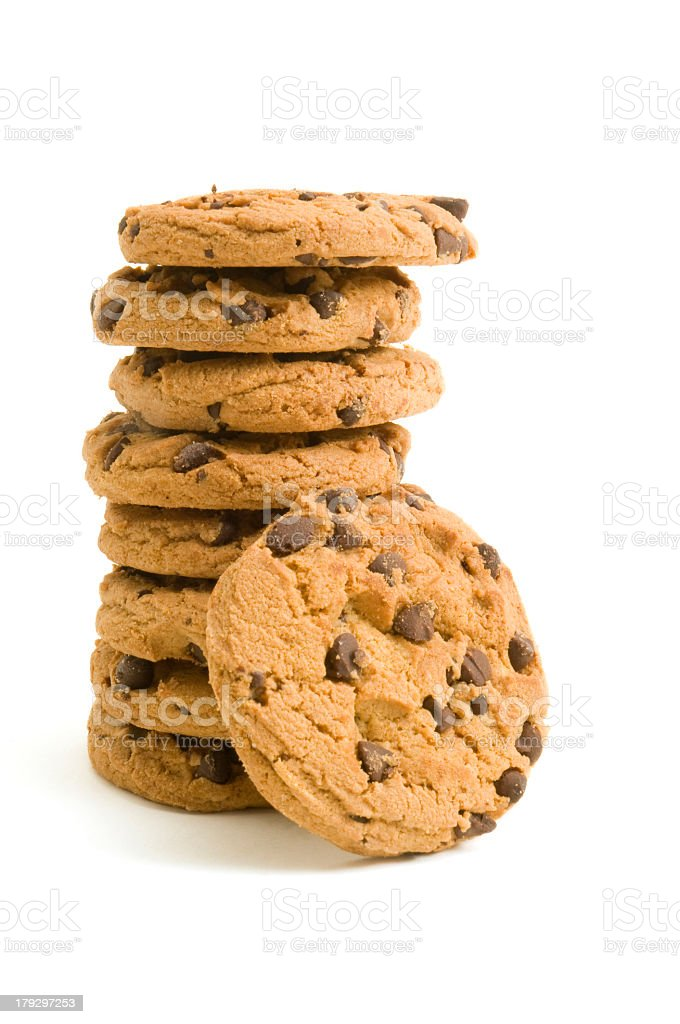 Stack of delicious chocolate chip cookies isolated on white royalty-free stock photo