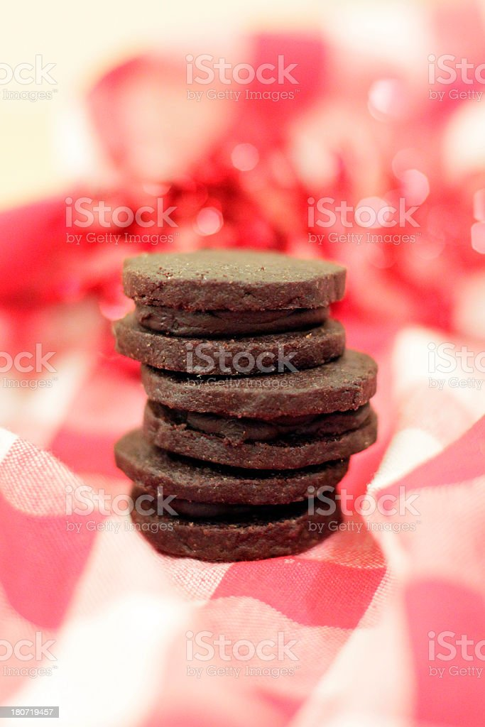 Stack of Delicious Chocolate Sandwich Cookies stock photo