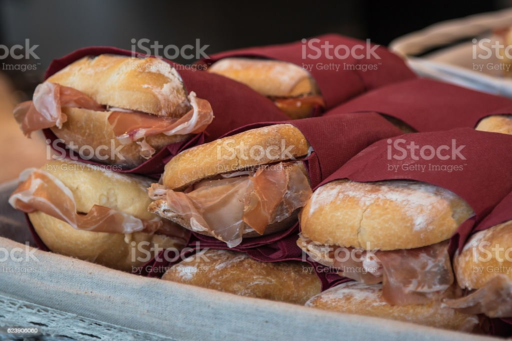Stack of Delicious Fresh Sandwich filled with Italian Ham stock photo
