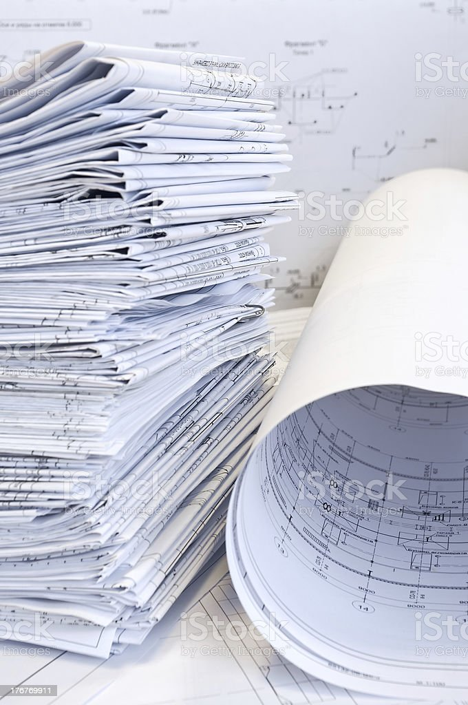 Stack of design drawings royalty-free stock photo