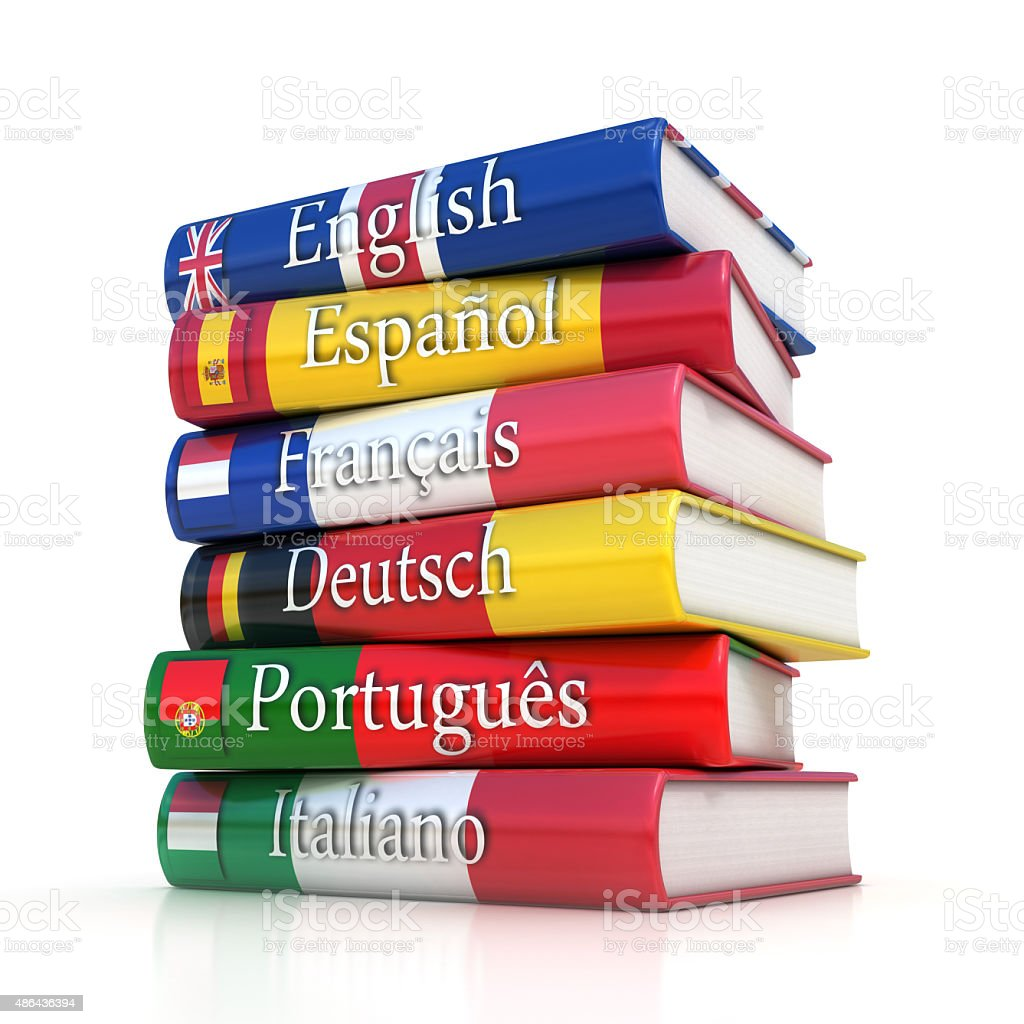 Stack of dictionaries, learning foreign language stock photo
