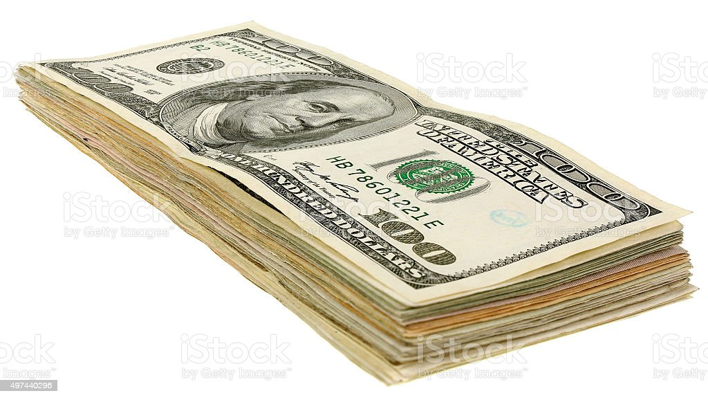 Stack of dollars banknotes_100 stock photo
