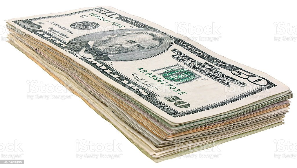 Stack of dollars banknotes_50 stock photo