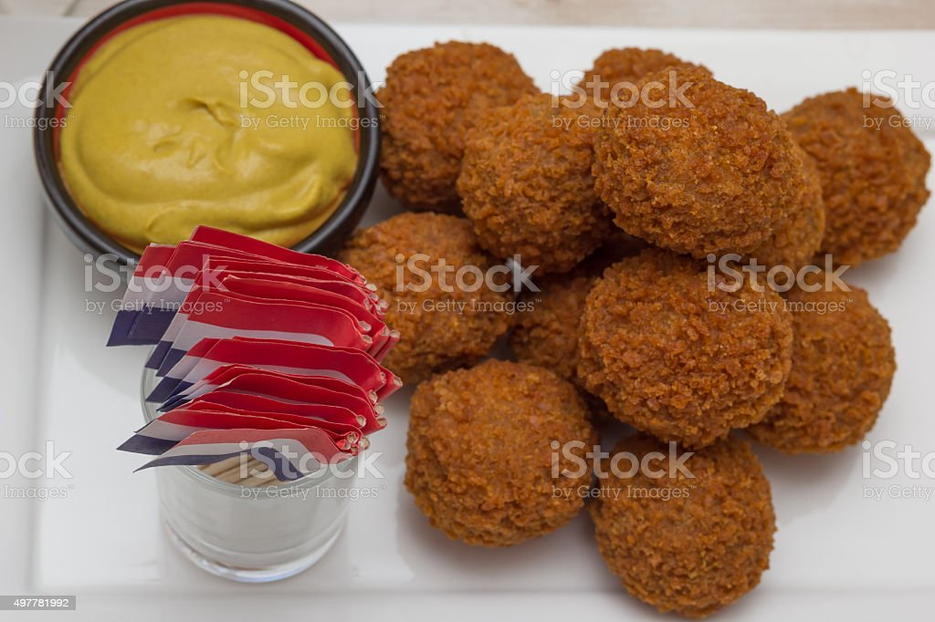 Stack of dutch snacks with little flags stock photo
