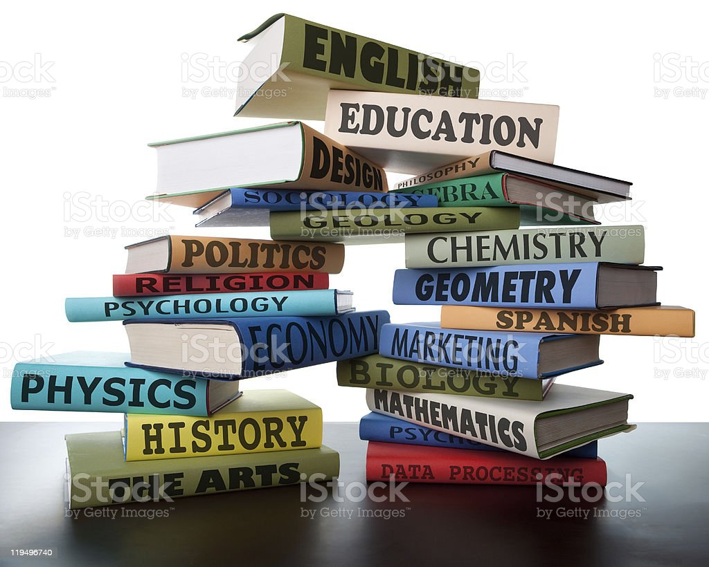 Stack of educational textbooks stock photo