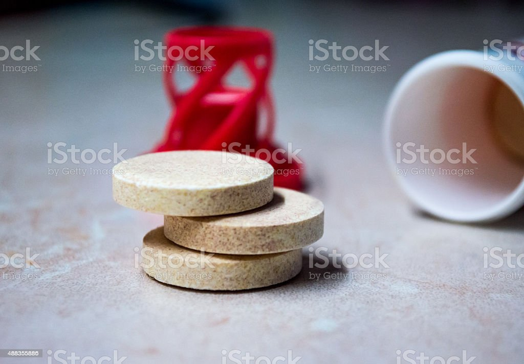Stack of Effervescent/Fizzing Tablets/Pills royalty-free stock photo