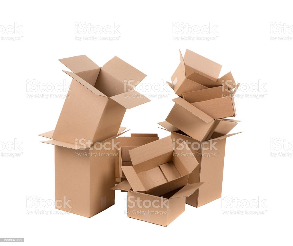 Stack of empty boxes. stock photo