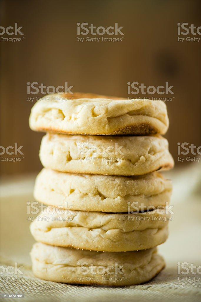 Stack of English Muffins stock photo