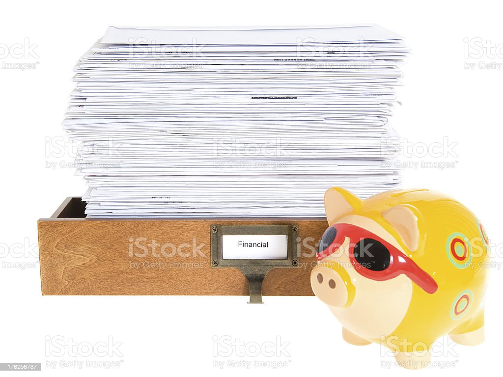 Stack of Envelopes and Piggy Bank stock photo