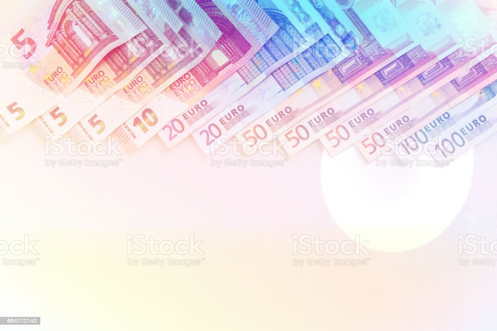 Stack of Euro banknotes . stock photo