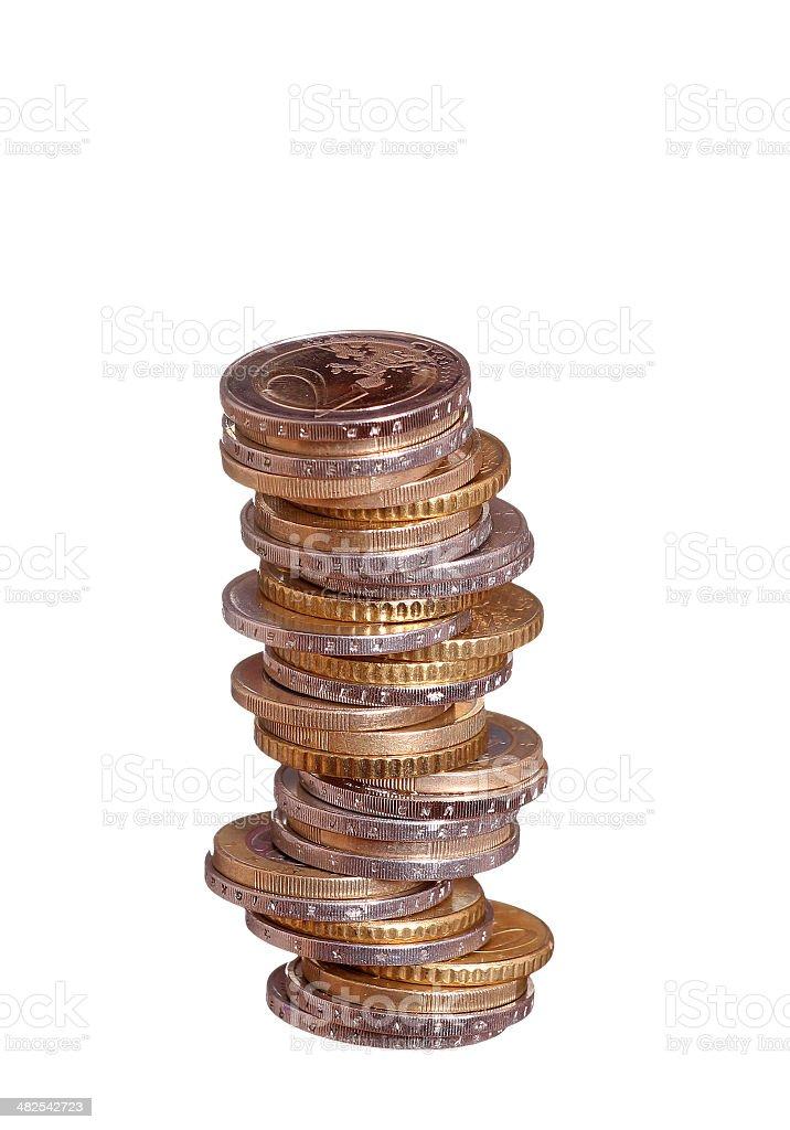 stack of european coins stock photo