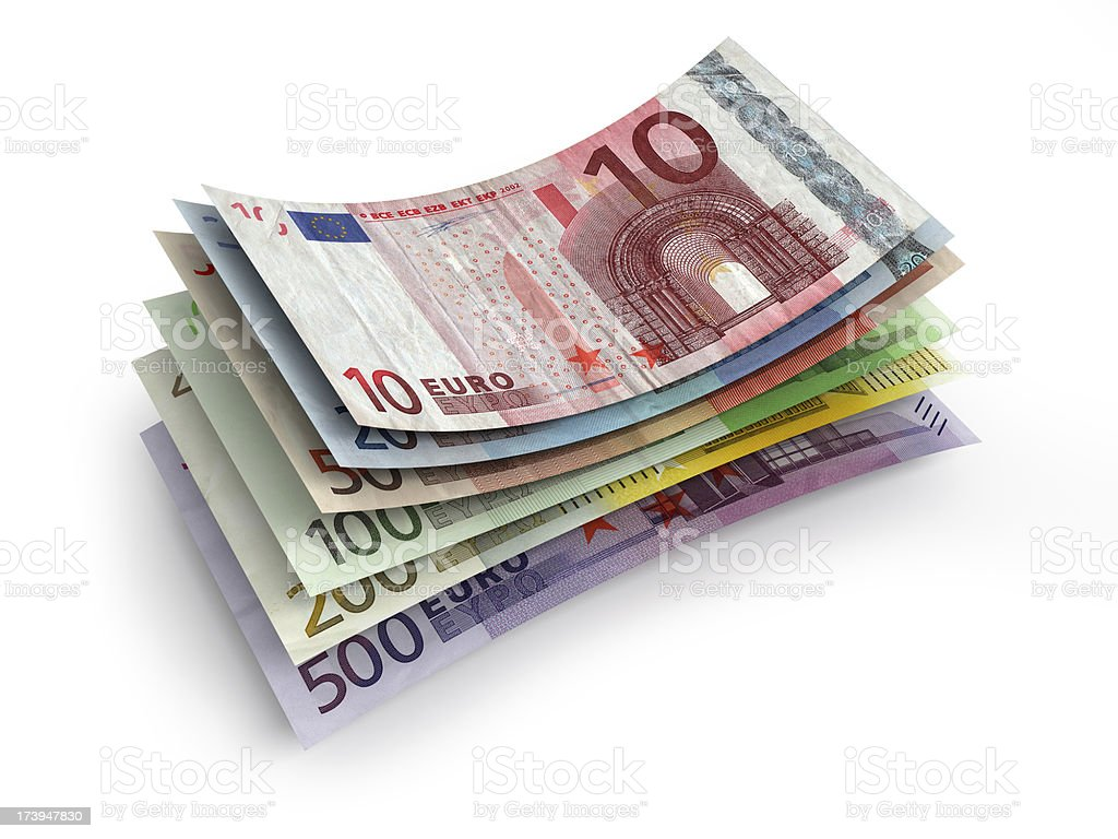 stack of euros stock photo