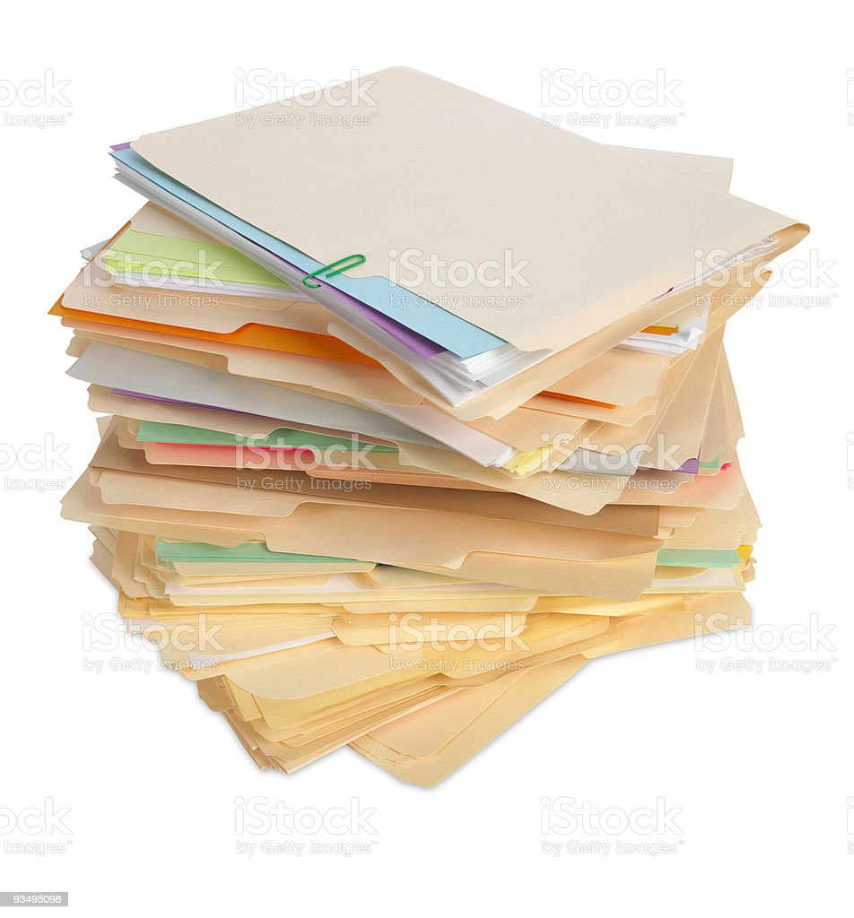 Stack of file folders isolated on white background royalty-free stock photo
