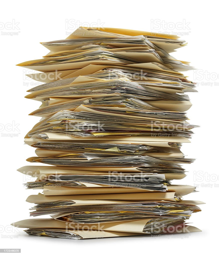 Stack of file folders on white background stock photo