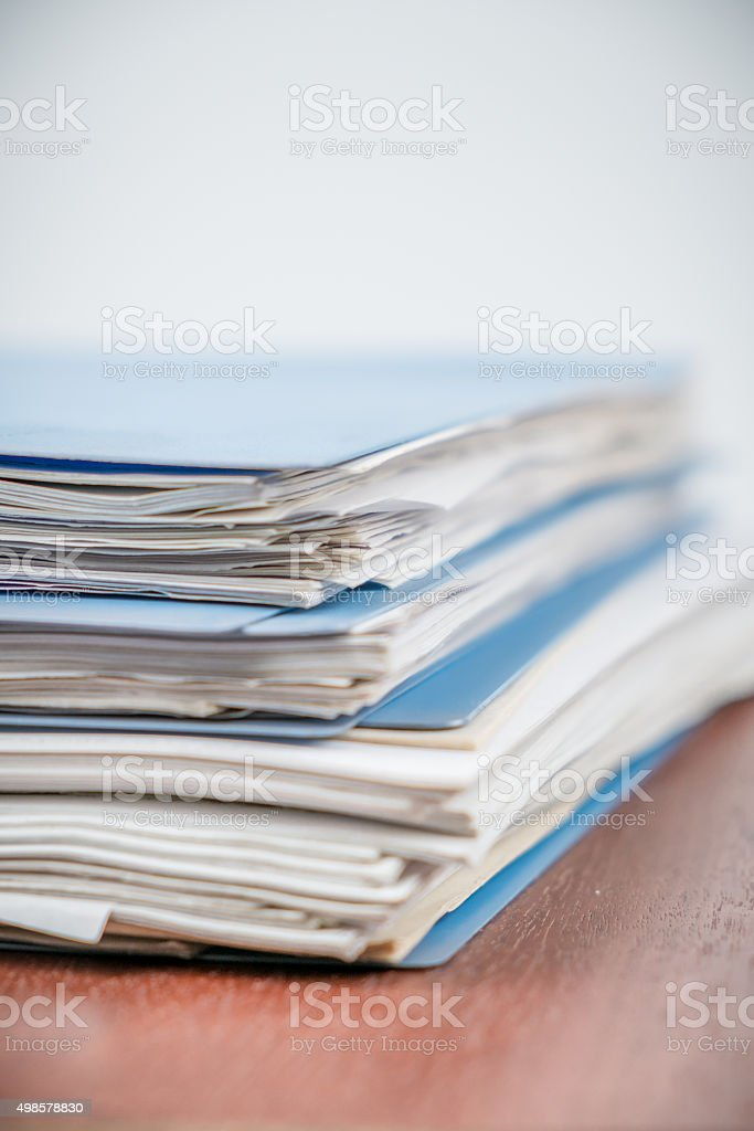 stack of files with selected focus stock photo