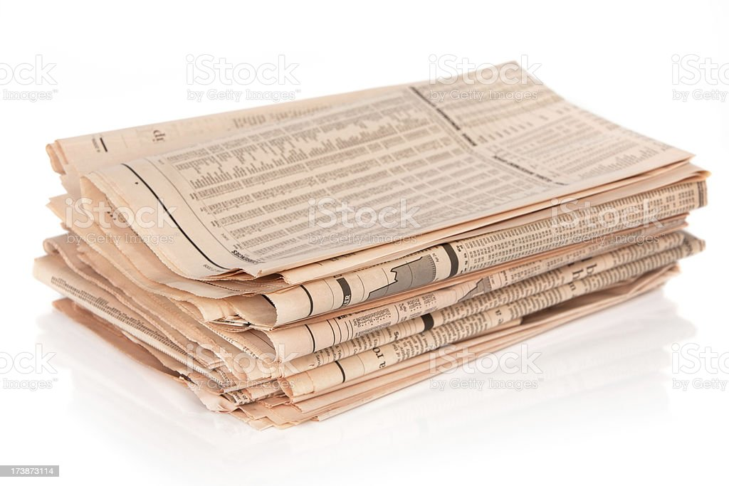 Stack of financial newspaper stock photo