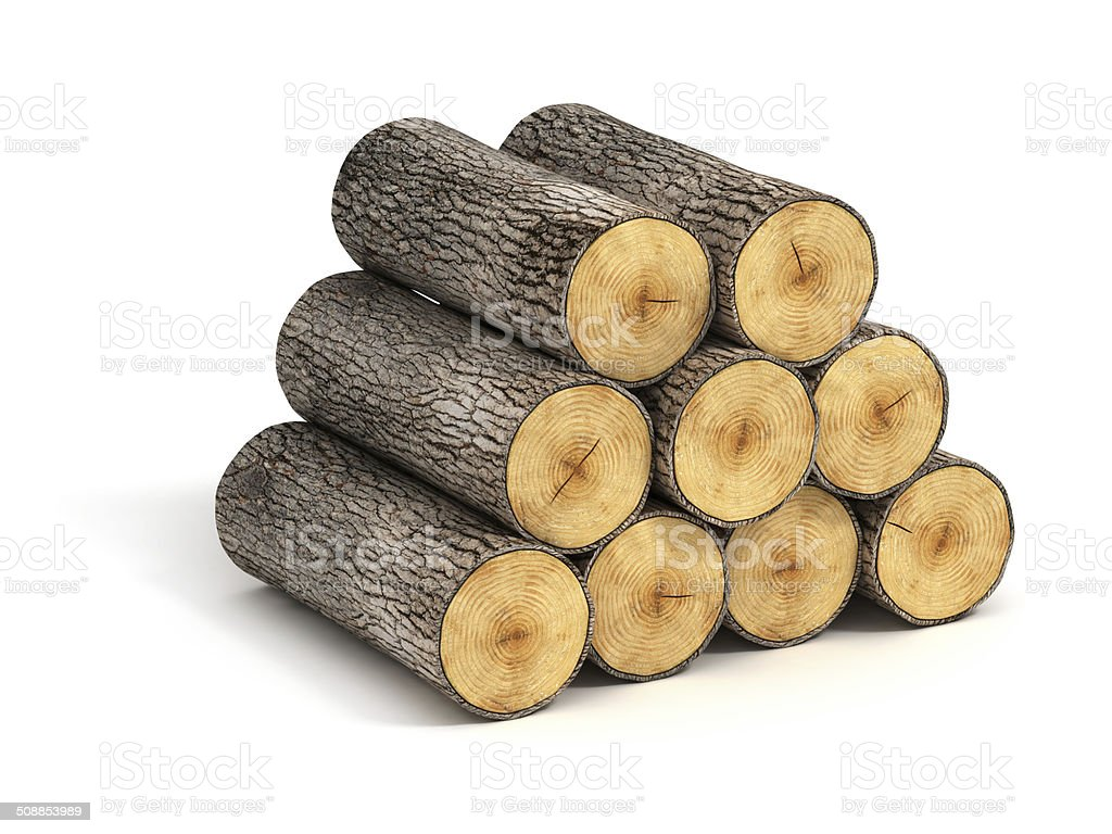 stack of firewood logs on white background vector art illustration