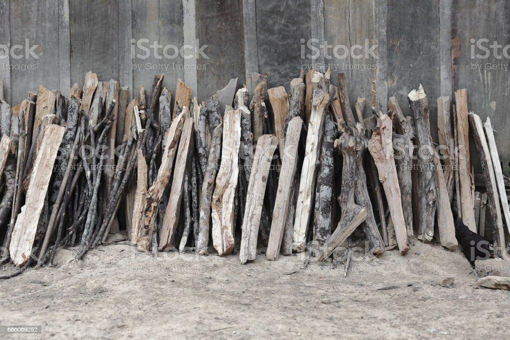 Stack of firewood-Akha Pala hill tribe. PakNamNoy area-Phongsali province-Laos. 3766 stock photo