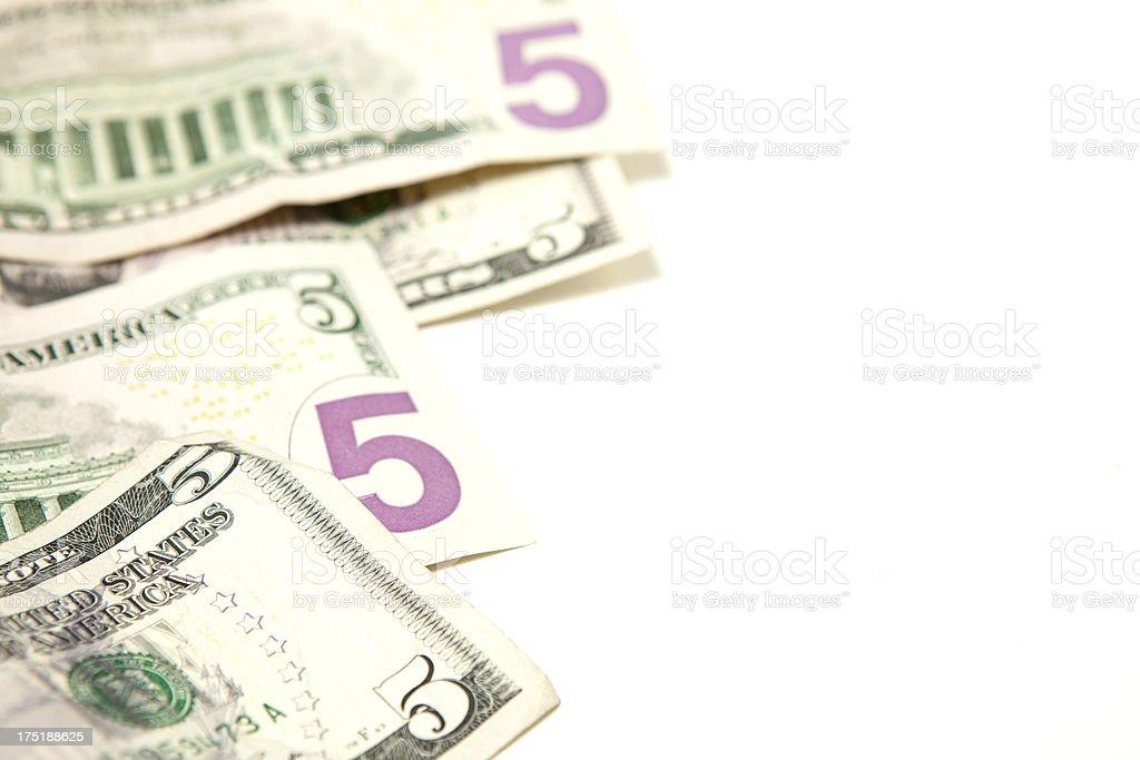Stack of Five Dollar Bills royalty-free stock photo