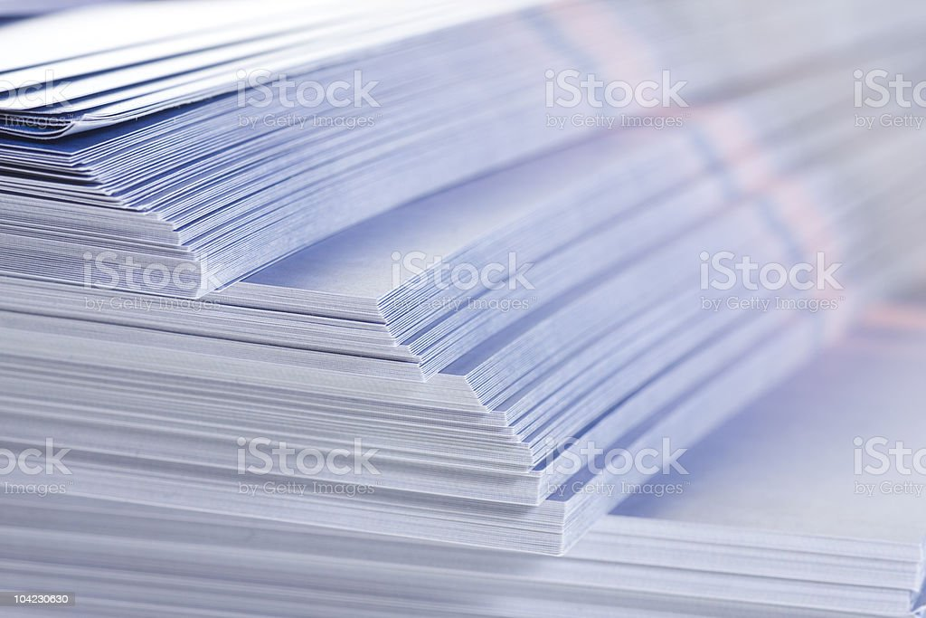 stack of flyers stock photo