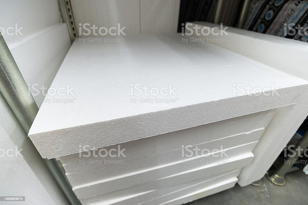 stack of foam plastic for insulation stock photo