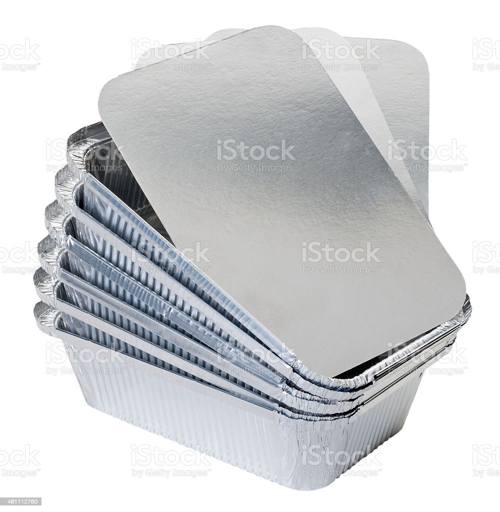 Stack of foil containers stock photo