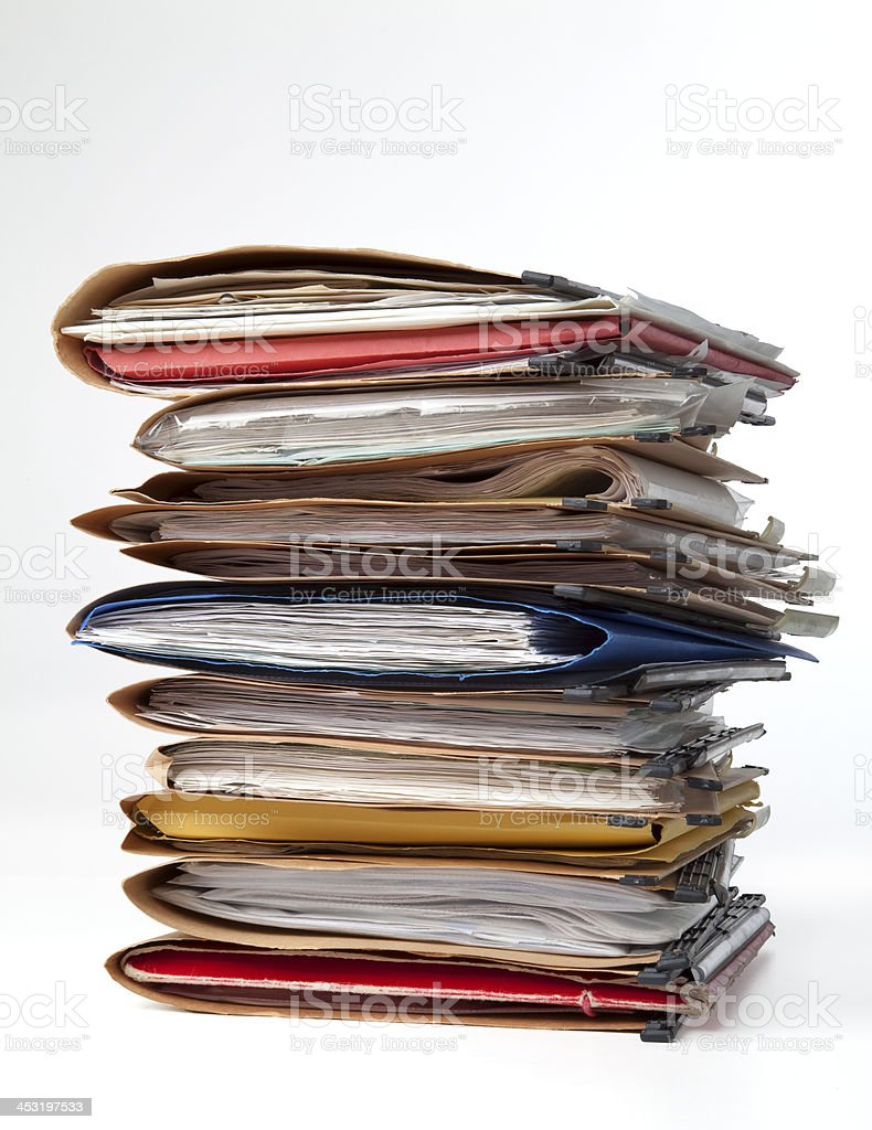 Stack of folders stock photo