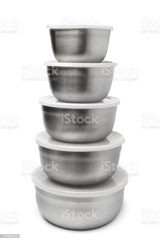 Stack of food metallic containers royalty-free stock photo