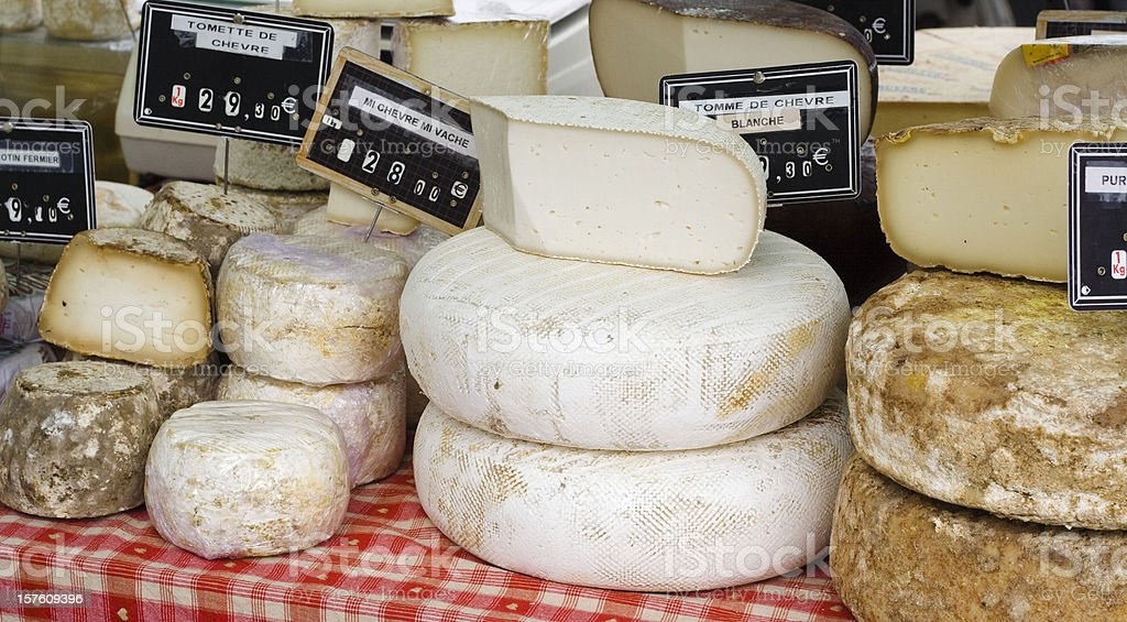 Stack of French Cheese at Farmer's Market stock photo