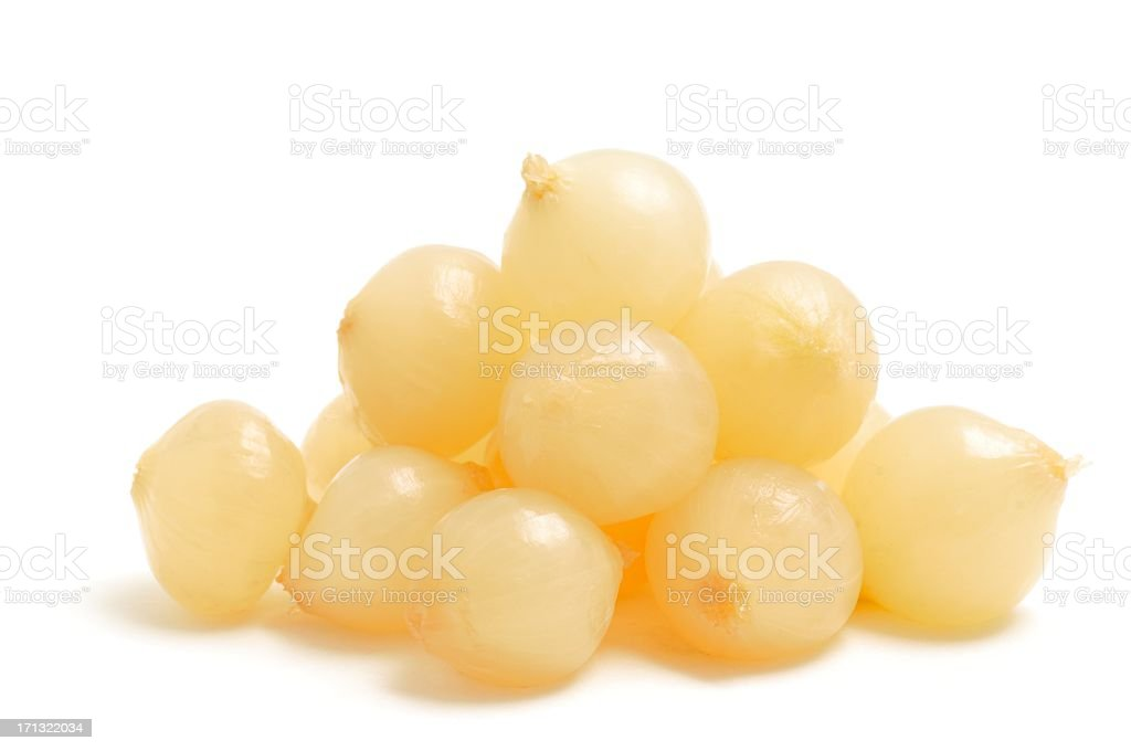 A stack of fresh pickled onions stock photo