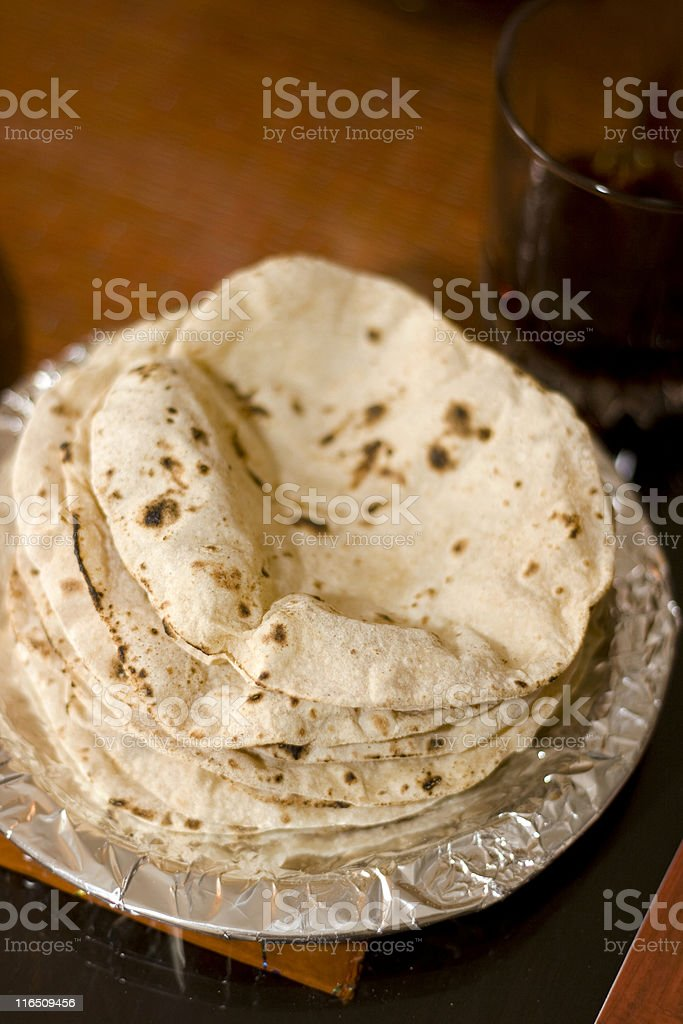 Stack of Fresh traditional homemade Indian Chapati Roti stock photo