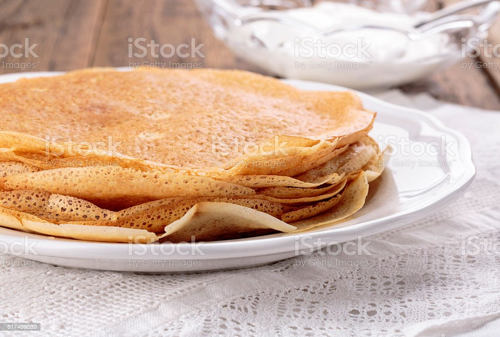 Stack of freshly homemade crepes stock photo