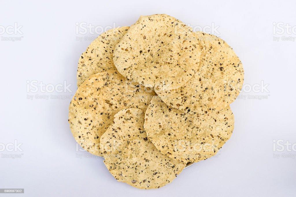 Stack of fried masala papad stock photo