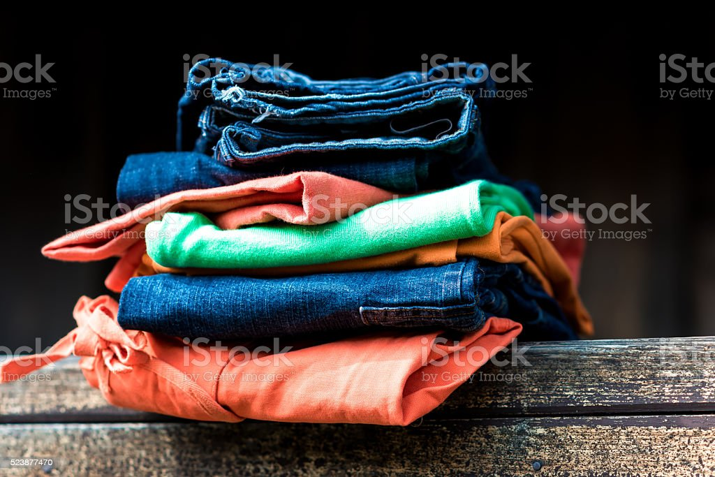 Stack of garment stock photo