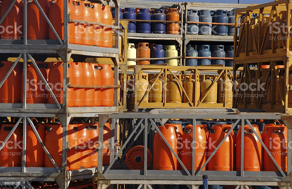 Stack of gas bottles stock photo